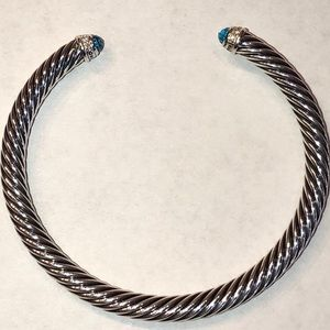 David Yurman Sterling Blue Topaz Cable Bracelet